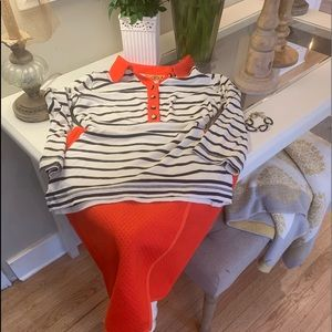 Tory Burch long sleeve polo shirt! 🖤 black/orange